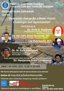 Mari bergabung di acara Webinar Prodi Sains Kebumian Seri #4, dengan Topik:  Renewable Energy for a Better Future: Challenges and Opportunities